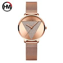 Женские наручные часы оригинального дизайна, модные японские Кварцевые водонепроницаемые наручные часы из нержавеющей стали и розового золота