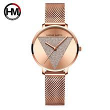 การออกแบบเดิมผู้หญิงนาฬิกาแฟชั่นญี่ปุ่นนาฬิกาควอตซ์สแตนเลส Rose Gold นาฬิกากันน้ำ relogio feminino