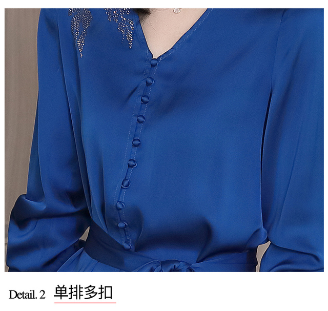 Autumn Long Sleeve Chiffon Blouse Shirt Blouse Women Blusas Mujer De Moda 2021 V-Neck Office Lady Blouse Tops Women Blusa D713 5