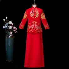 Красный Жених Винтаж Свободный чеонгам традиционное китайское свадебное платье атласное Qipao Вышивка костюм дракона Vestido восточные мужские