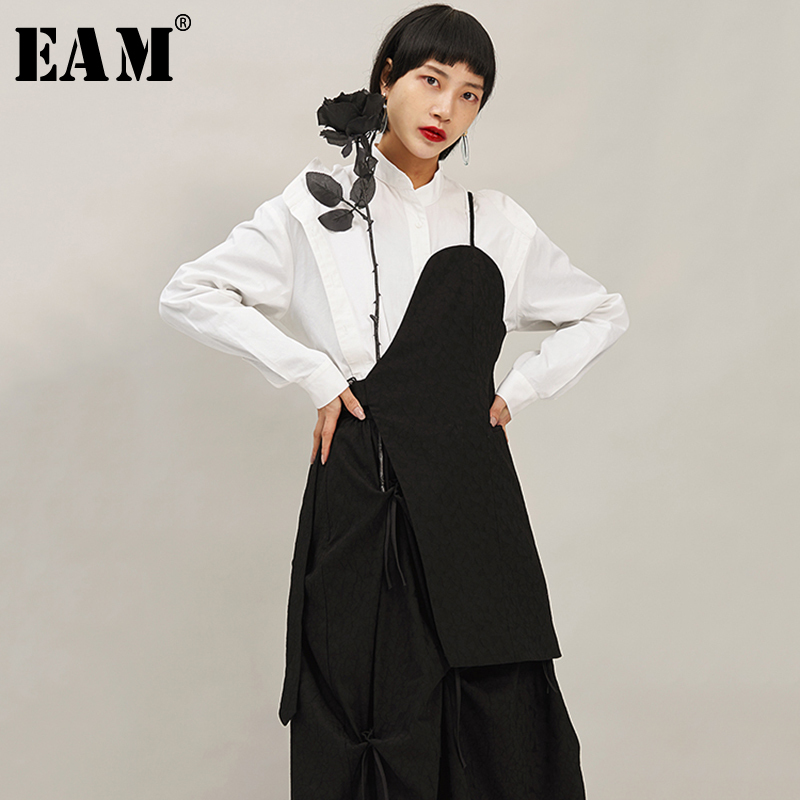 [EAM] Women Loose Fit Black Bandage Vent Asymmetrical Vest New V-collar Sleeveless   Fashion Tide Spring Autumn 2020 1N376