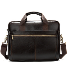 Bag Mens Briefcase Real Genuine Leather Business Bags for Man Male Leather Laptop Briefcase Male Computer Bag Men Lawyer   8572
