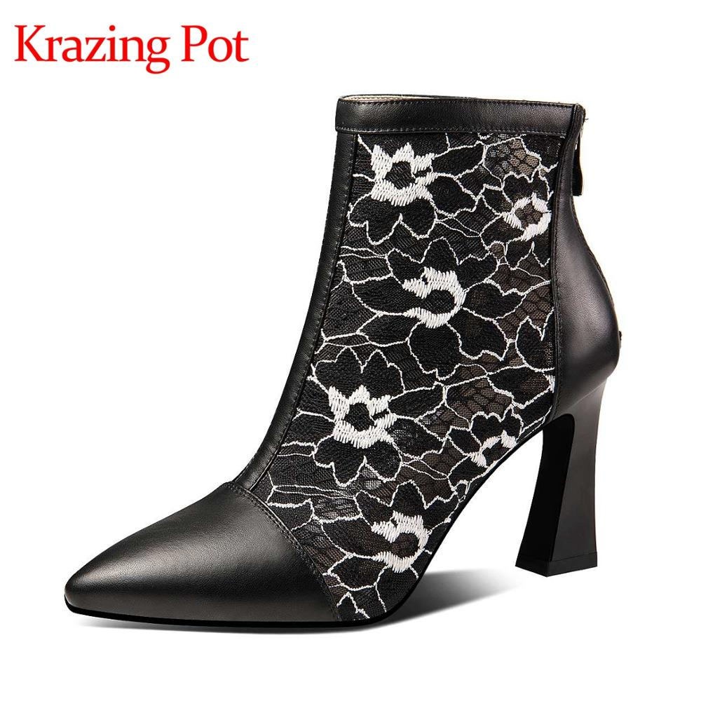 Krazing pot breathable cow leather air mesh zip pointed toe high heels European style design sunscreen ankle summer boots L91