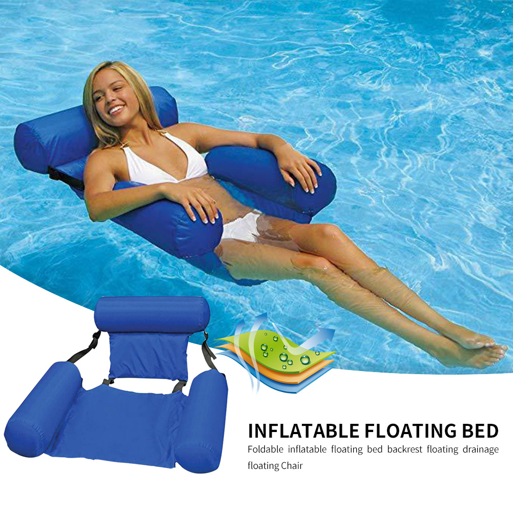Water Hammock In Air Mattress Swimming Pool Beach Lounger Floating Sleeping Cushion Foldable Inflatable Hammock Bed Chair