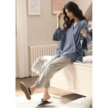 ريترو اليابان نمط القطن بيجامة مجموعات للفتيات النساء الربيع الصيف المنزل ارتداء الملابس رداء المنزل كيمونو غير رسمي