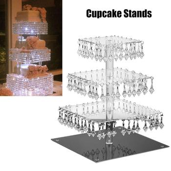 Newest 4 Layers Cupcake Stand With Crystal Pendant Square Cake Dessert Holder For Wedding Holiday Party Festival