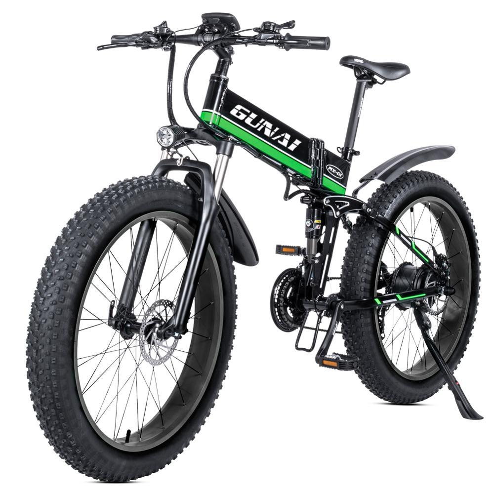 GUNAI Electric Bike,48V12Ah 26 Inches Folding Fat Tire Snow Bike 21 Speed Beach Cruiser Full Suspension