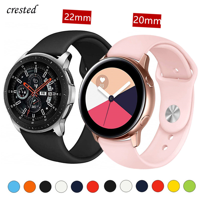 Silicone Strap For Samsung Galaxy Watch 46mm/42mm/Active Band Gear S3/S2/Sport 20mm/22mm Bracelet Huawei Wtach GT S 3 2 42 46 Mm