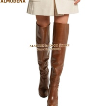 ALMUDENA Brown Matte Leather Chunky Heel Thigh Boots Wooden Pattern Thick Heels