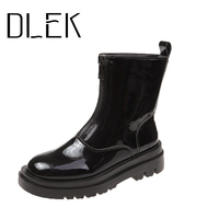 Botas gruesas con cremallera frontal para mujer, zapatos negros de charol/Pu con punta redonda superior, botas transpirables con suela de goma pura