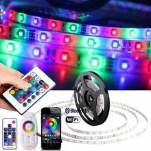 DC 12V RGB LED Strip Waterproof 220V Tira Led Wifi 12V Ribbon RGB Tape 5050 Neon Flex Strip Light Bluetooth Remote Power Adapter цена