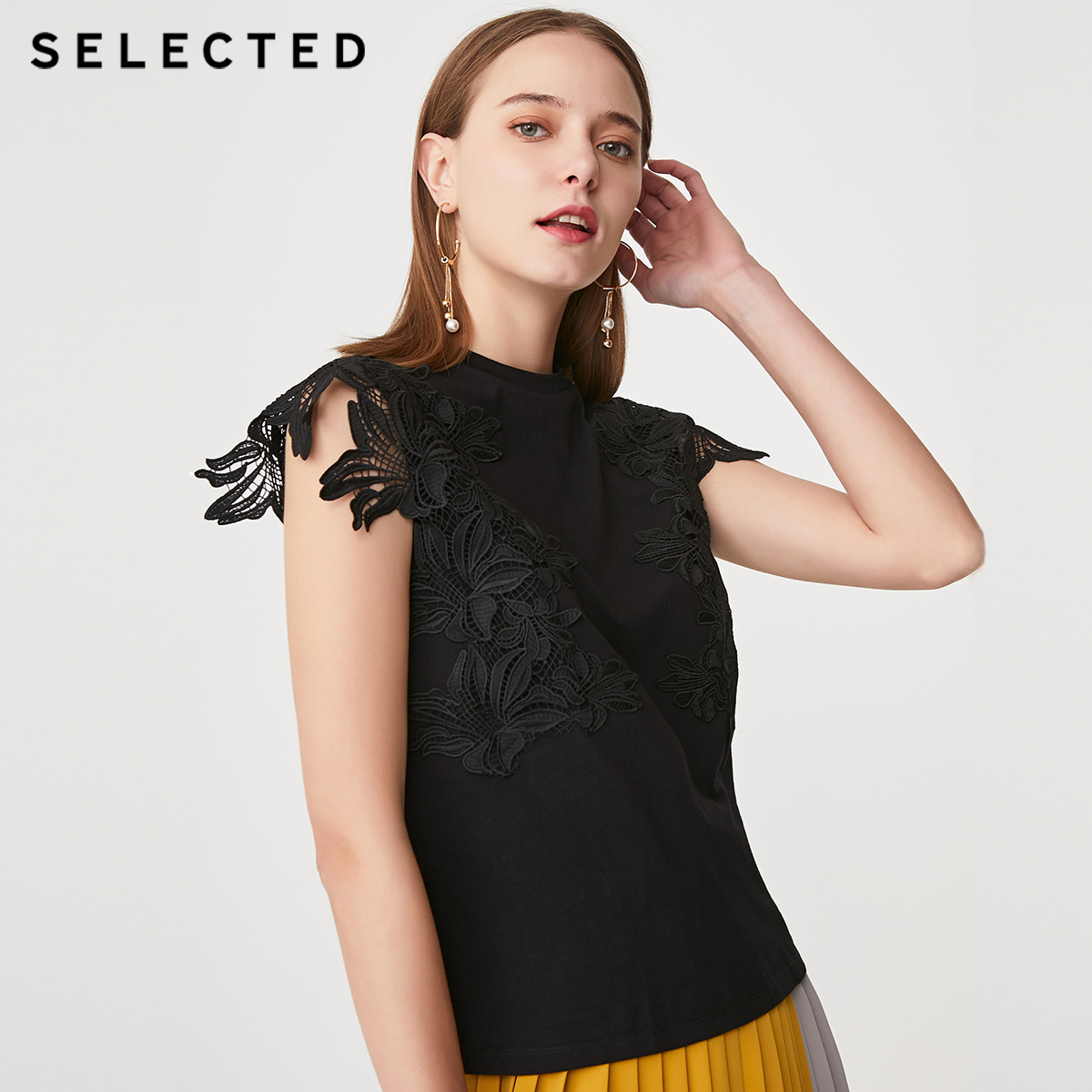 SELECTED Pure Color Lace Cut-outs Round Neckline Sleeveless Tops S|419201526