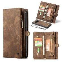 레트로 PU 가죽 커버 지퍼 지갑 전화 가방 삼성 갤럭시 참고 8 9 S7 가장자리 S8 플러스 S9 플러스 케이스 카드 슬롯 홀더 지갑