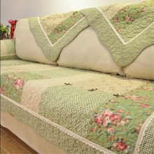 Green Floral Sofa Covers Couch Cover Pastoral Washed Cotton Quilted Fabric Corner Sofa Towel Pillow Slip Seat Cushion