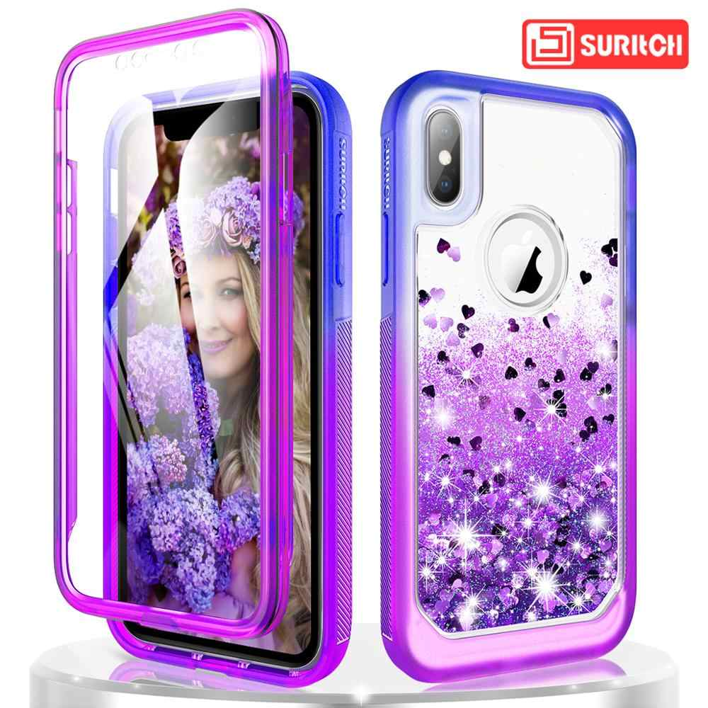 Luxury Quicksand สำหรับ iPhone X XR XS MAX 7 8 6 Plus Case TPU Glitter Bling Liquid Hard Case ป้องกันหน้าจอในตัว