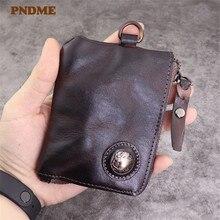 PNDME retro designer genuine leather men women's small wallets fashion casual natural real cowhide key case card case coin purse