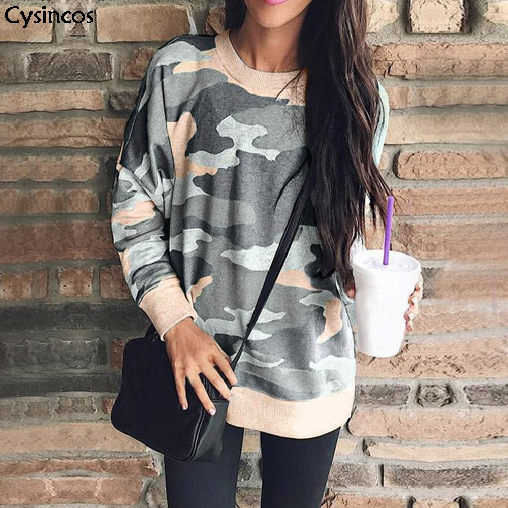 Cysincos Women Camouflage Sweatshirt Tops 2019 Fashion Autumn Loose Batwing Sleeve O Neck Long Sleeve Pullovers Plus Size S-5XL
