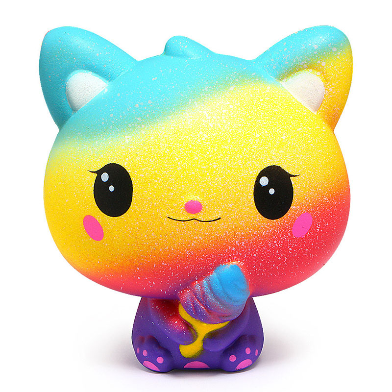 New Yellow Ice Cream Cat Kitty Squishy Slow Rising Cute Jumbo Strap Soft Squeeze Scented Bread Cake Toy Gift Kid Fun
