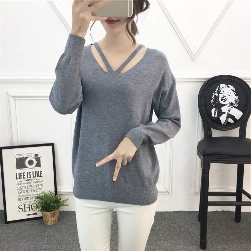 On sale 2019 autumn winter Women Knitted V neck Sweater Casual Soft cross Jumper Fashion Loose Femme Elasticity Pullovers in Pullovers from Women 39 s Clothing
