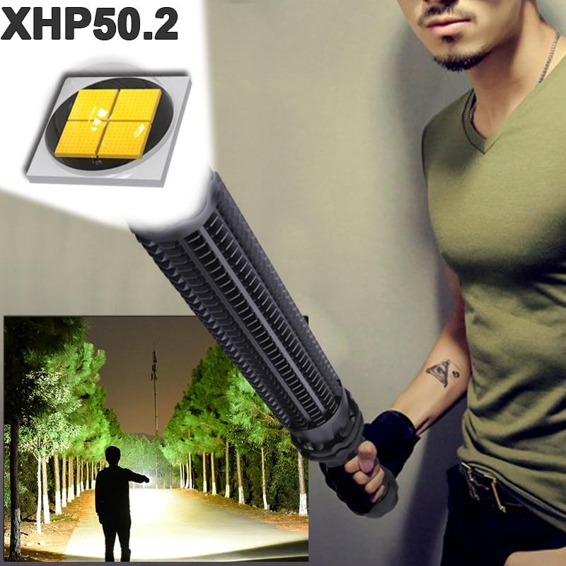 1000000 lumens XHP50 2 super powerful tactical flashlight led self defense Telescopic bat xhp50 waterproof rechargeable torch