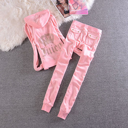 Velvet Tracksuit Two Piece Set Women Sexy Hooded Long Sleeve Top And Pants Bodysuit Suit Runway Fashion