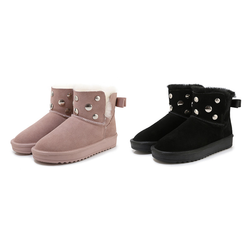 MORAZORA 2020 new hot sale snow boots comfortable flat heel round toe rivets winter shoes keep warm sweet pink ankle boots women 71