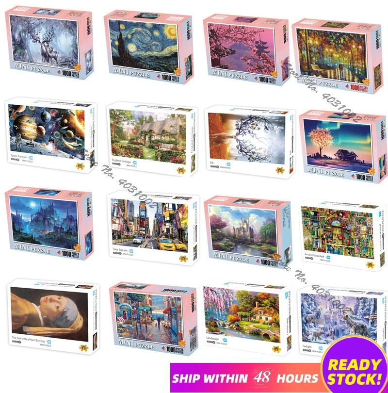 Пазлы 1000 штук деревянные сборочные картины Ландшафтные Пазлы игрушки для взрослых Детские Игры развивающие игрушки