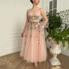 Prom-Gowns Evening-Party-Dresses Designer Blush Long-Sleeves Pink Ankle-Length New Pageant