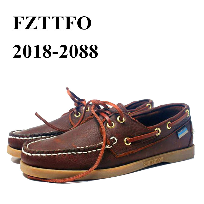Men Genuine Leather Driving Shoes,New Fashion Docksides Classic Boat Shoe,Brand Design Flats Loafers For Men Women 2019A007