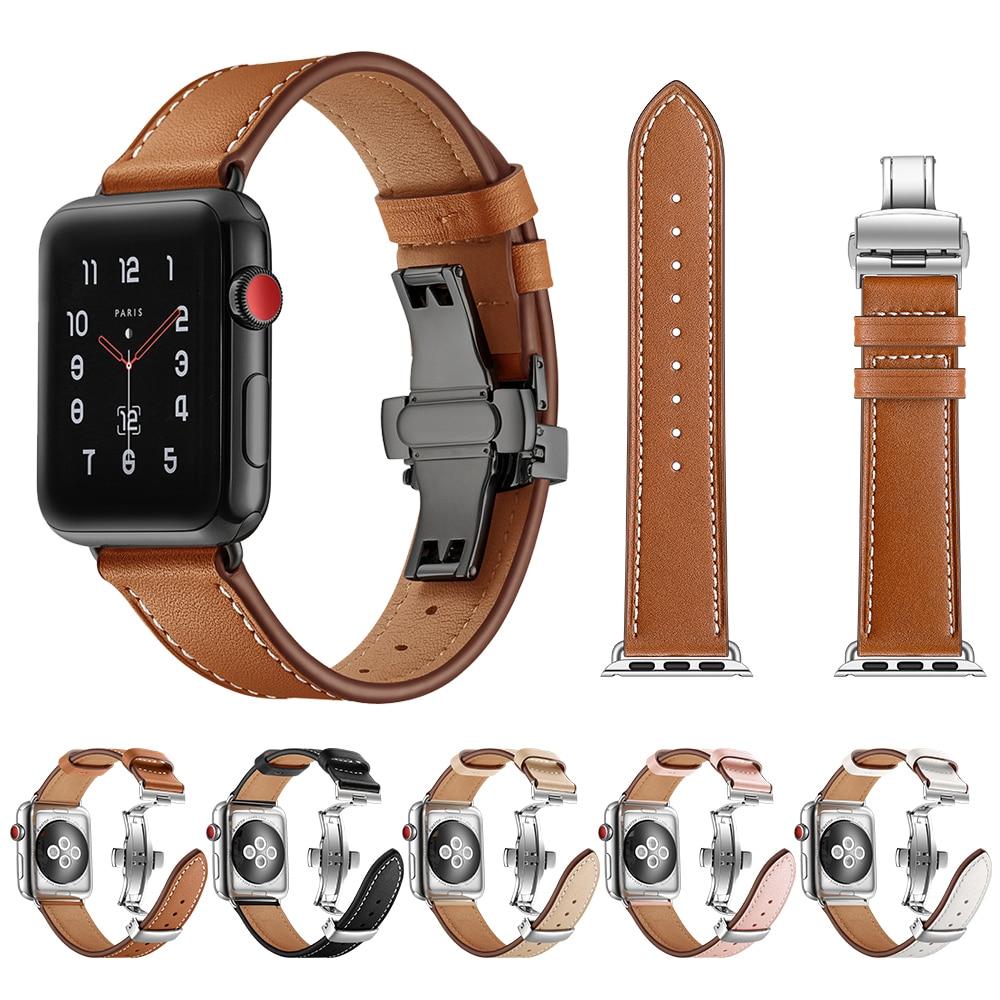 정품 가죽 스트랩 애플 시계 시리즈 4 5 밴드 44mm 40mm iwatch 3 2 1 42mm 38mm 시계 밴드 팔찌 액세서리