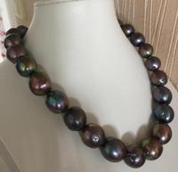 free shipping huge13 15mm baroque black green red pearl necklace 18inch 925s