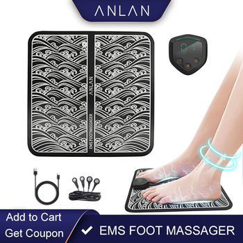 ANLAN Electric EMS Foot Massager Vibrating Physiotherapy Pedicure Foot Massager Vibrator Wireless Feet Muscle Stimulator Unisex mini handheld electric massager head body muscle vibrator