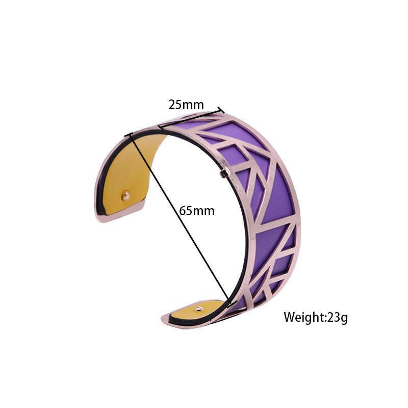 1/pieza 25mm correa de cuero Reversible intercambiable Acero inoxidable accesorios de cuero joyería personalizada mujeres brazalete 2020