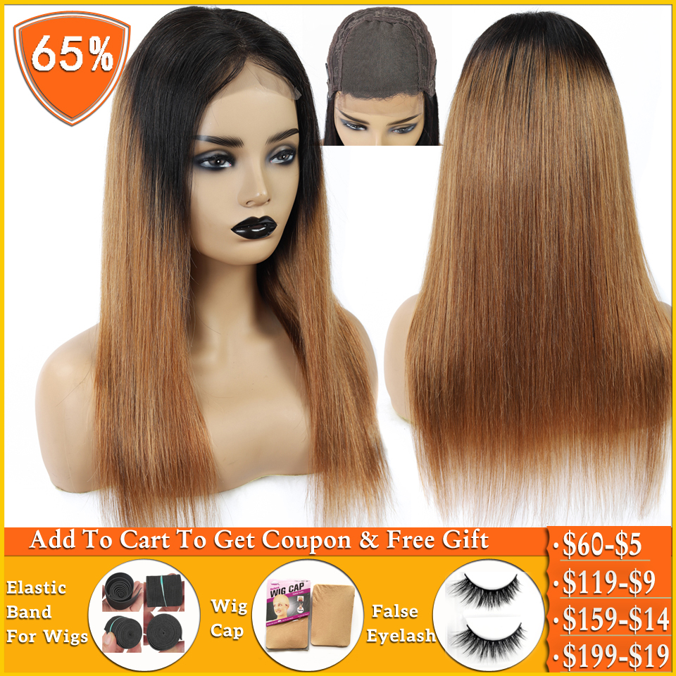 Lanqi Honey Blonde Ombre Human Hair Wig Brazilian Straight 4x4 Lace Closure Wig Human Hair Wigs For Women Non-remy 150% Density