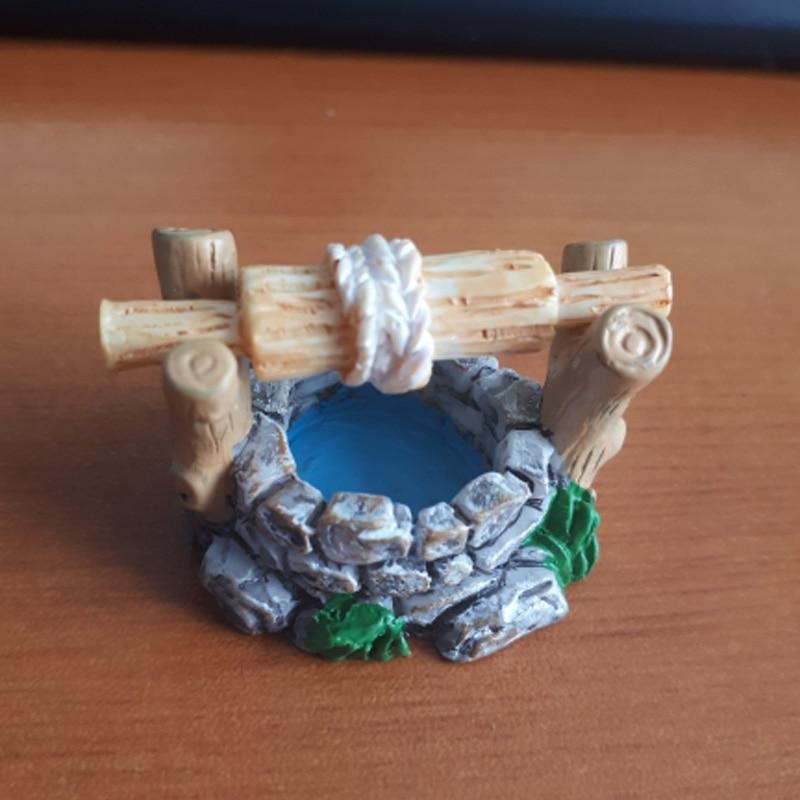 Fairy Garden Mini Water Well Bridge Animail Figurines Miniature Craft Bridge House Pouch Mushroom DIY Ornament Garden Decor