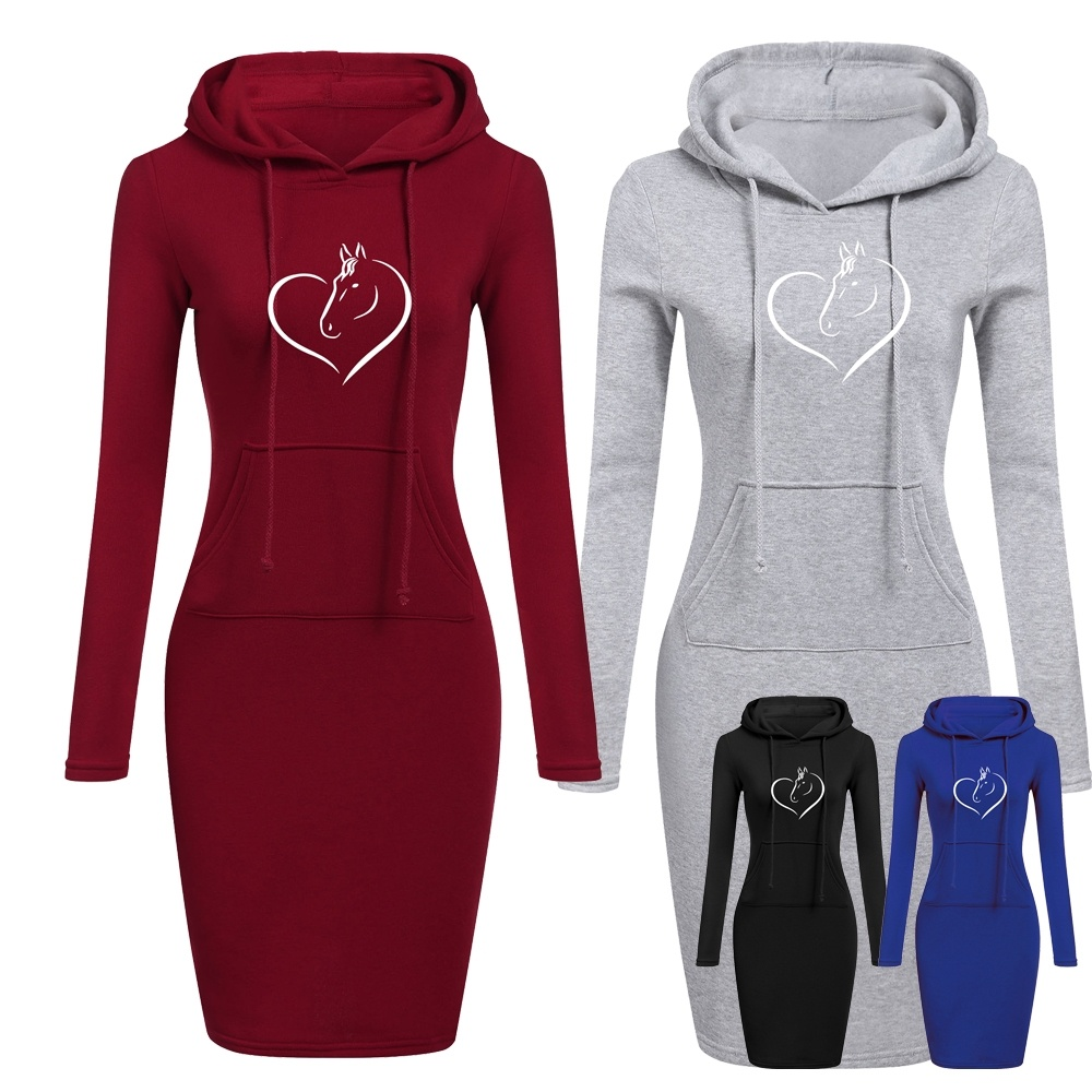 Love Horse Women Hoodie Dress Brand Printsd Long Sleeve Hoodie Casual Hooded Jumper Pockets Hooded Tops