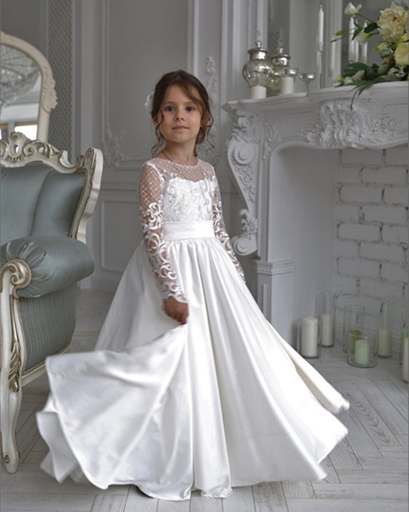 White Satin First Communion Gowns For Princess New Long   Flower     Girl     Dress   with Bow Illusion Long Sleeves Backless Custom Made