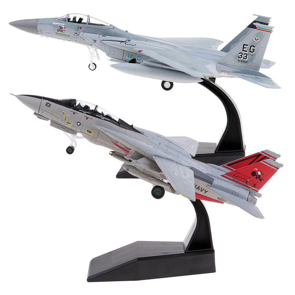 2Pcs 1/100 Scale Simulate Alloy Metal USA F-14 F-15 Fighter Diecast Airplane Model Kids Toy image