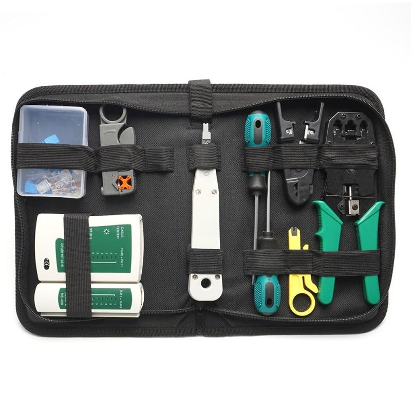 14 Pcs/set RJ45 RJ11 RJ12 CAT5 CAT5e Portable LAN Network Repair Tool Kit Utp Cable Tester AND Plier Crimp Crimper Plug Clamp PC