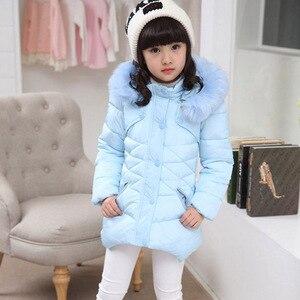 Image 2 - Abrigo para niños, prendas de vestir, sudaderas con capucha de piel de invierno, chaqueta para niñas, adolescentes, cálido, con capucha, abrigo largo de algodón acolchado grueso, 6 8 10 12 14