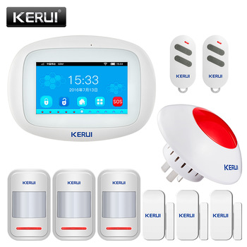 KERUI K52 Wifi GSM APP Control Alarm Set For Home Security GSM SMS 4.3 Inch TFT Color Wireless IOS/Android Burglar Alarm System kerui w20 wifi gsm home security alarm system app control tft color screen wireless home burglar alarm kit rfid card arm disarm