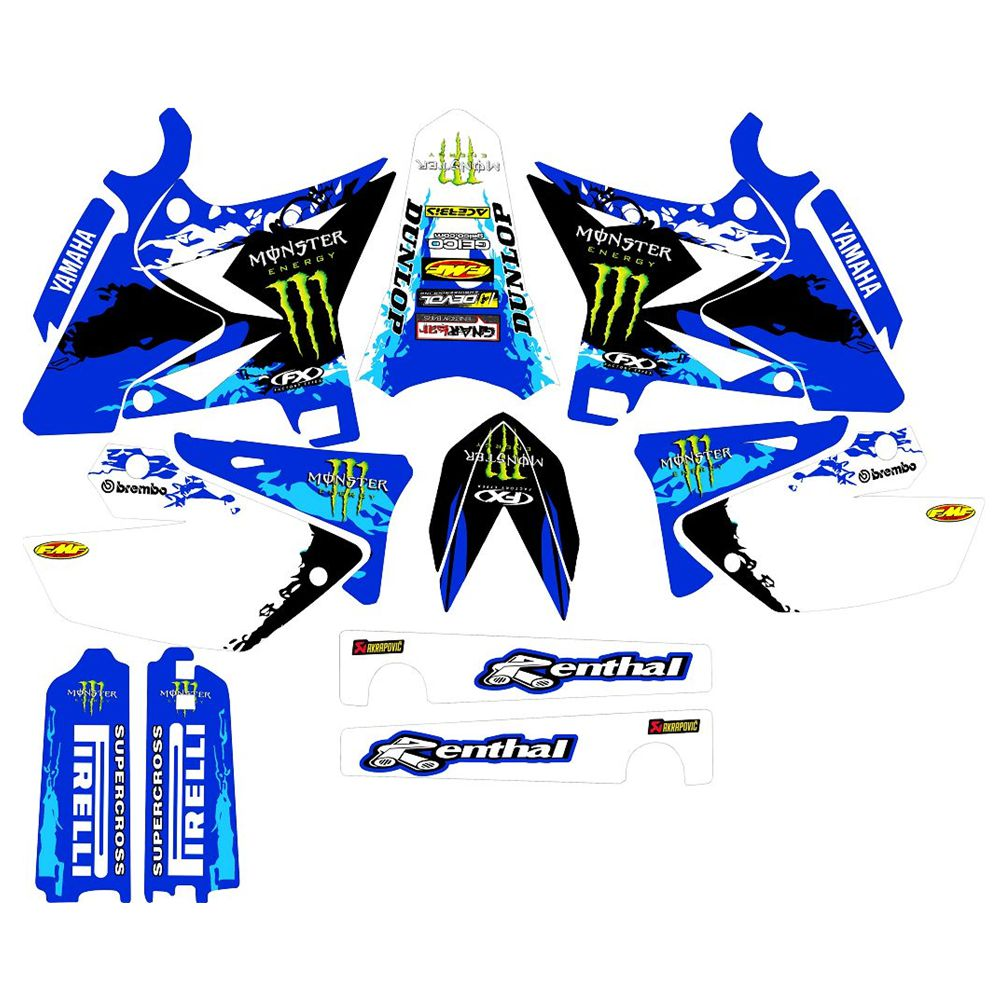 For YAMAHA YZ125-YZ250 2015-2018 New Full Graphics Decals Stickers Custom Number Name 3M Bright Stickers Waterproof