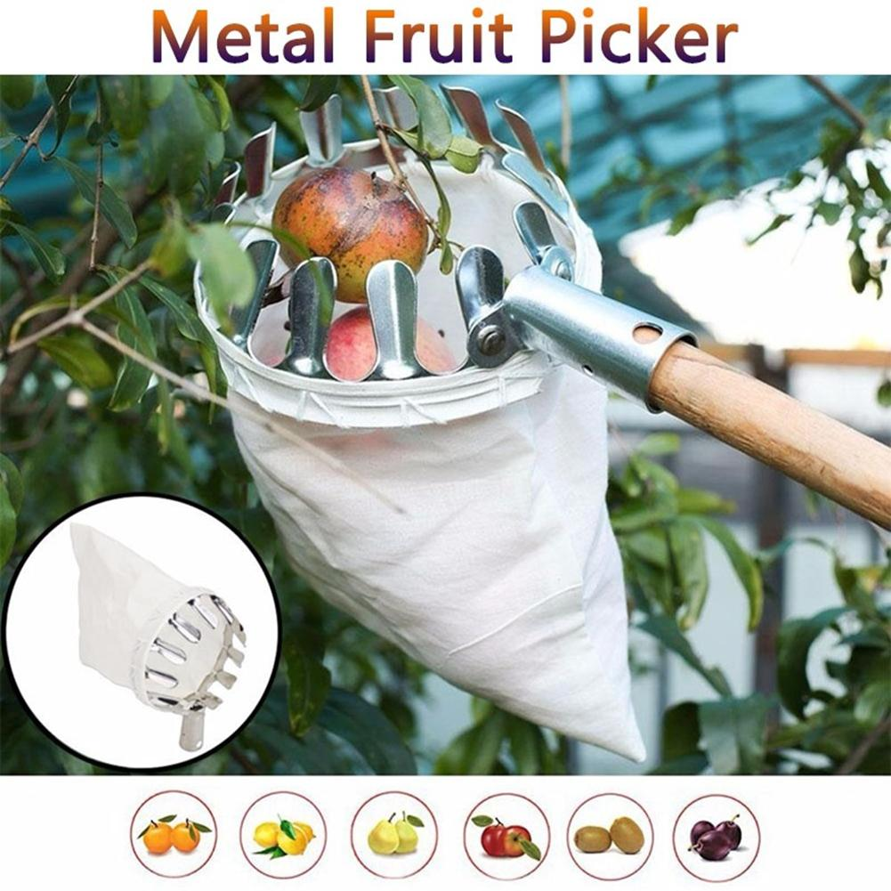 Metal Fruit Picker Orchard Gardening Apple Peach High Tree Picking Tools for Home Orchard Park Farm Garden