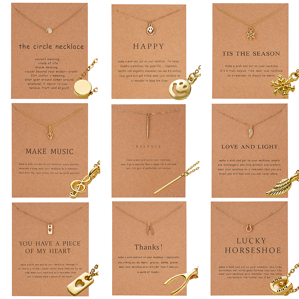 Tiny Round Necklace for Women Gold Chain Lucky Wish Bone Heart Pendant Necklace Ethnic Bohemian Choker Necklace With Gift Card