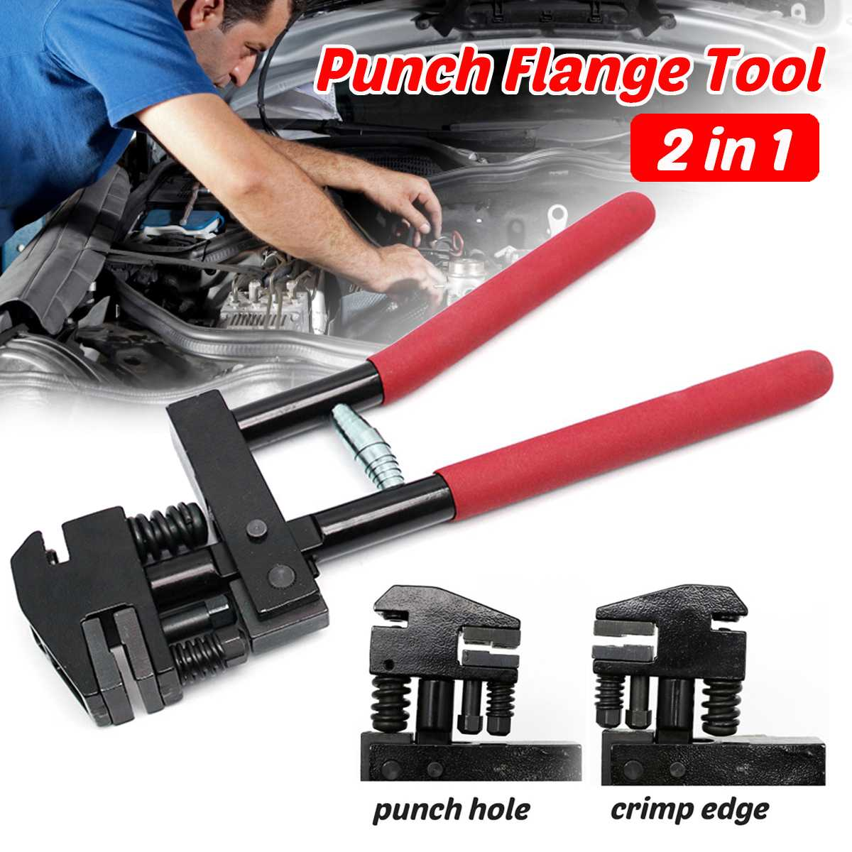 5mm Hole Punch Pliers Joggler Puncher Panel Flang Metal Repair Flanging Crimp Hand Tool Kit Set of tools Rotating Head Alloy
