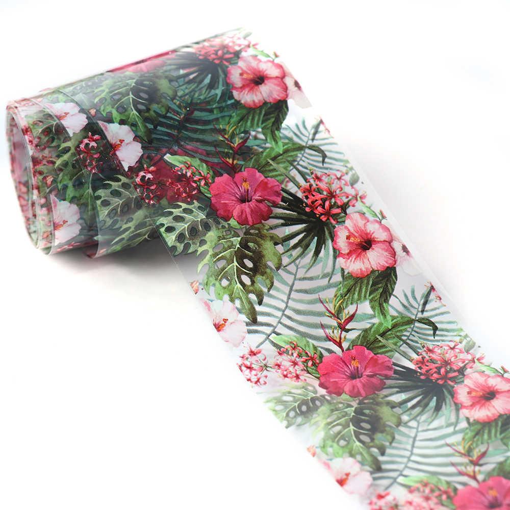 10 stücke Transparente Transfer Folie 3D Blume Nagel Kunst Aufkleber Set Rot Grün Blooming Floral Nail Schablone Drucke Polnischen SAXKH40-54