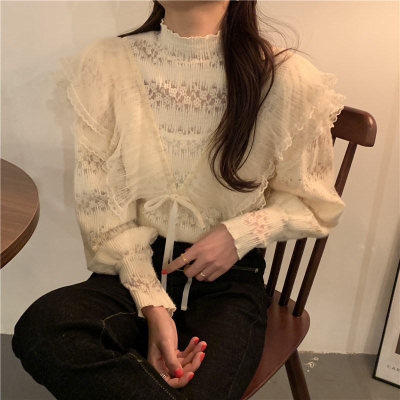 Hd7b2734f0322478fbb80222ebce2ecb6M - Spring / Autumn Stand Collar Long Sleeves Ruffles Lace-Up Blouse