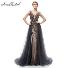 New Elegant Evening Dresses Long A Line Backless Tulle Floor Length Dubai Formal Party Gown Lace Applique Robe De Soiree WT5406