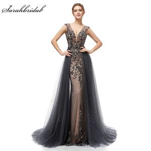 Image 1 - New Elegant Evening Dresses Long A Line Backless Tulle Floor Length Dubai Formal Party Gown Lace Applique Robe De Soiree WT5406