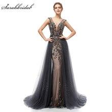 Yeni zarif abiye uzun bir çizgi Backless tül kat uzunluk Dubai örgün parti kıyafeti dantel aplike Robe De Soiree WT5406